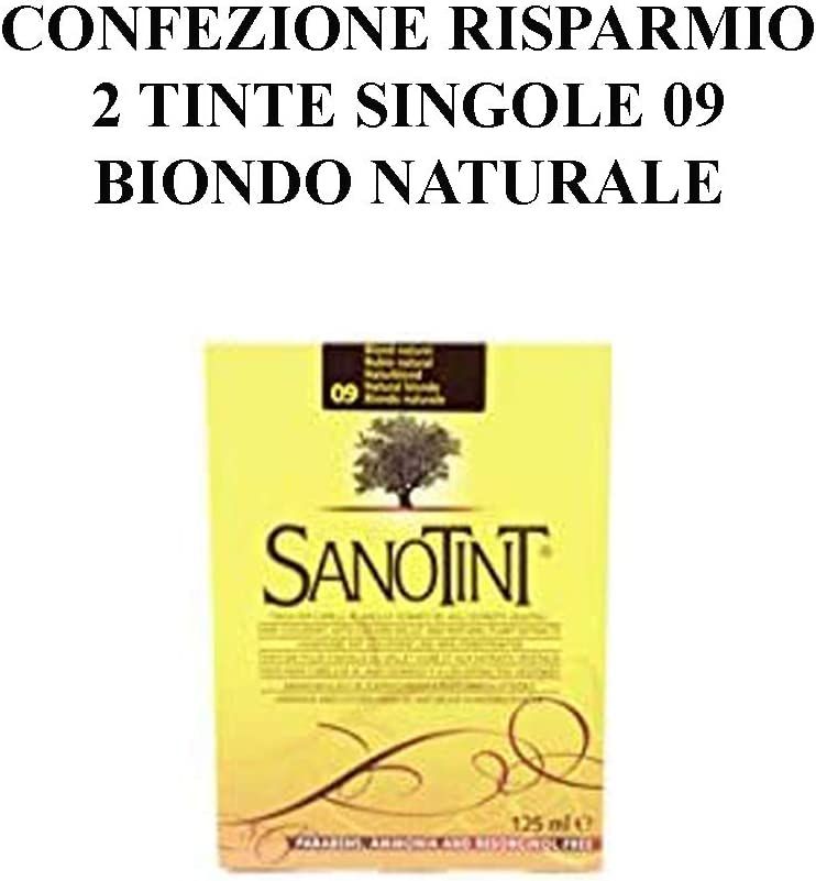 Sanotint - Tinte clásico color 09 rubio natural, 2 paquetes ...