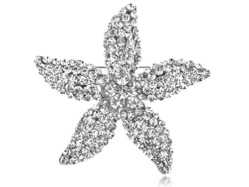 Alilang Star Lily Clear Crystal Rhinestone Fashion Flower Starfish Costume Pin Brooch (Crystal Brooch Starfish)