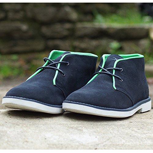 Dude Shoes Mens Torino Navy Suede/Prene Desert Boot Blue