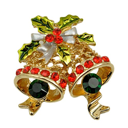 Ladys Crystal Gold Plated Hollow Drop Oil Christmas Tree Bell Brooch Diamond Accented Collar Pin Yellow