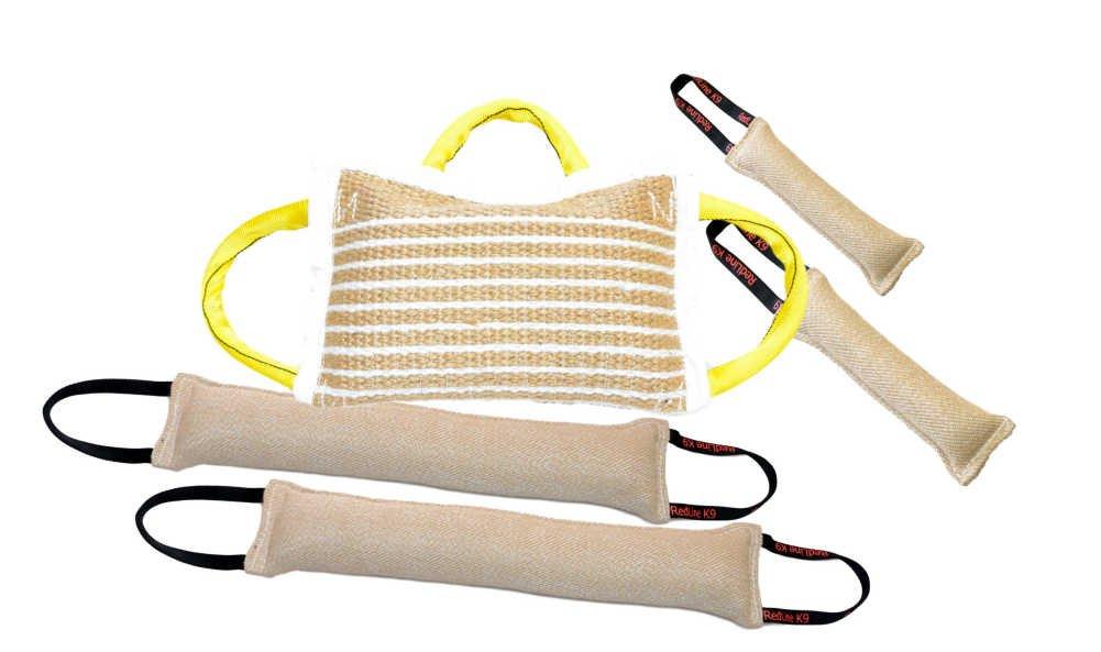 Bundle 1 - 3 Handle Jute Bite Pillow Firm, 2 - 4'' X 24'' 2 Handle Jute Tug Toys, 2 - 3'' X 10'' 1 Handle Tug Toys - Redline K9