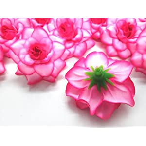 "(100) Silk Hot Pink Edge Roses Flower Head - 1.75"" - Artificial Flowers Heads Fabric Floral Supplies Wholesale Lot for Wedding Flowers Accessories Make Bridal Hair Clips Headbands Dress 3"