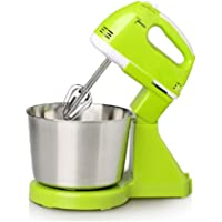 2 in 1 Hand Mixer ,with 7 Speed 200W Hand Mixer, Electric Egg Beater Household Handheld Desktop Creamer and Dough Baking Mixer Small appliances (Color : Green)