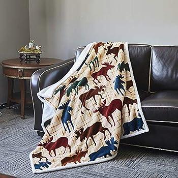 jpi southwest moose lodge plush raschel queen size blanket 79x95 inches home kitchen. Black Bedroom Furniture Sets. Home Design Ideas