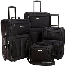 Rockland Journey Softside Upright Luggage Set, Black
