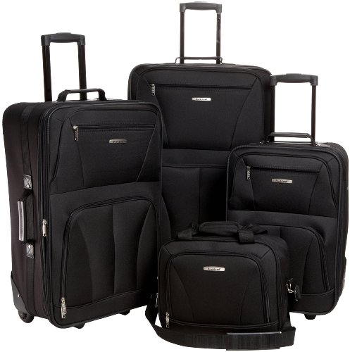 Rockland Luggage Skate Wheels 4 Piece Luggage Set, Black, One Size