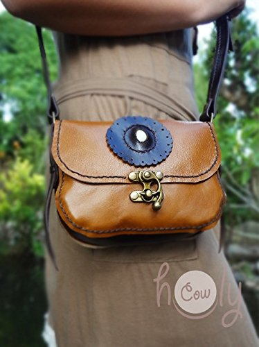 Handmade Brown Leather White Seashell Accented Shoulder Bag