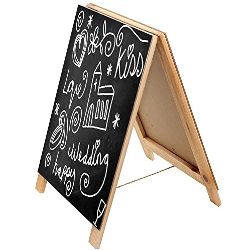 MyGift 15 Inch Wood A-Frame Erasable Chalkboard, Tabletop Menu Board, Wedding Sign, Beige