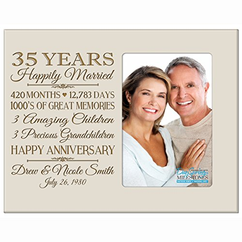 Personalized thirty fifth year anniversary gift for her him couple Custom Engraved wedding gift for husband wife girlfriend boyfriend photo frame holds 4x6 photo by DaySpring International (Ivory)