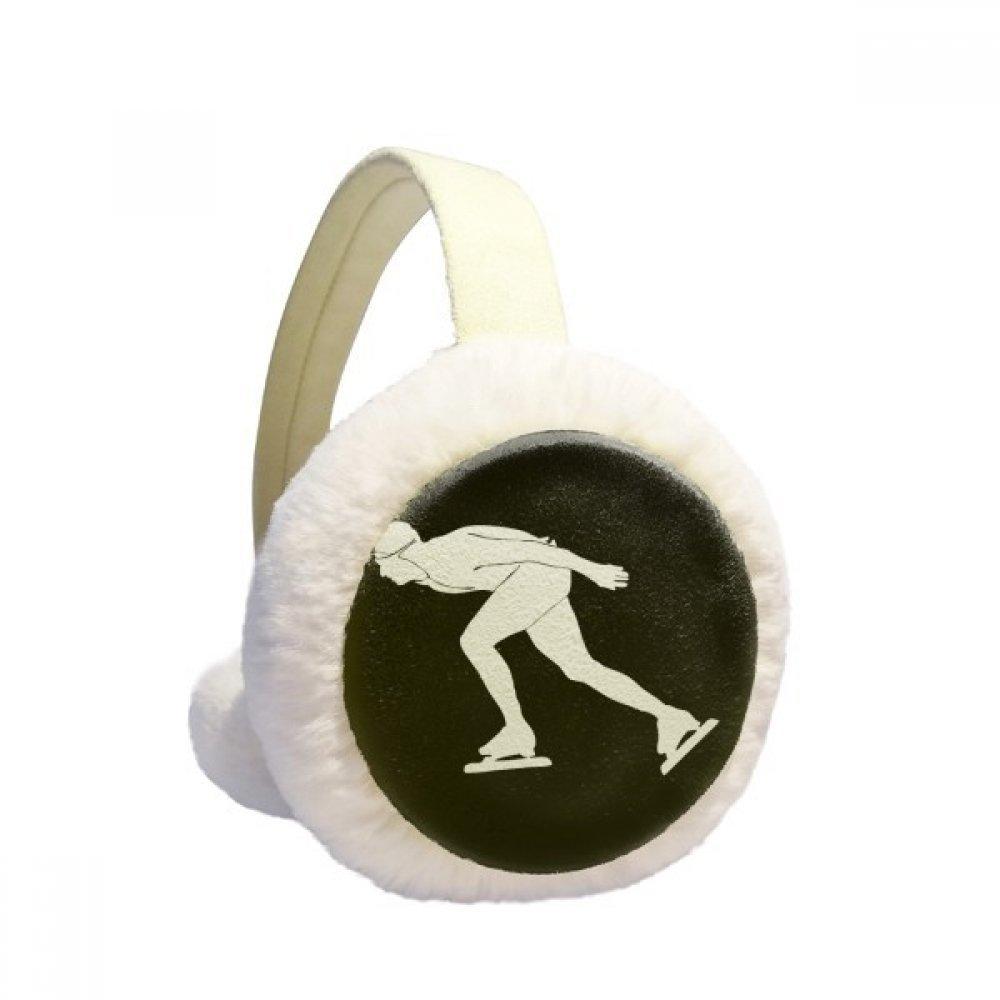 Black Winter Skating Sport Silhouette Winter Earmuffs Ear Warmers Faux Fur Foldable Plush Outdoor Gift