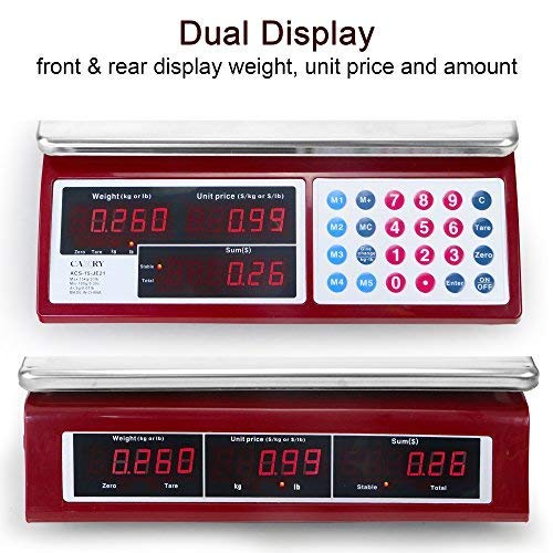 Amazon.com: Camry Digital Commercial Price Scale 33lb/15kg for Food Meat Fruit Produce with Dual Bright Red LED Display 15 Inches Platform Rechargeable ...
