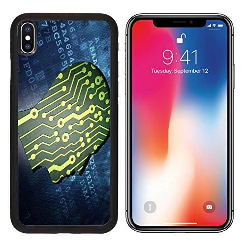 MSD Premium Apple iPhone X Aluminum Backplate Bumper Snap Case Information concept digital screen with icon Head 3d render IMAGE 26840351