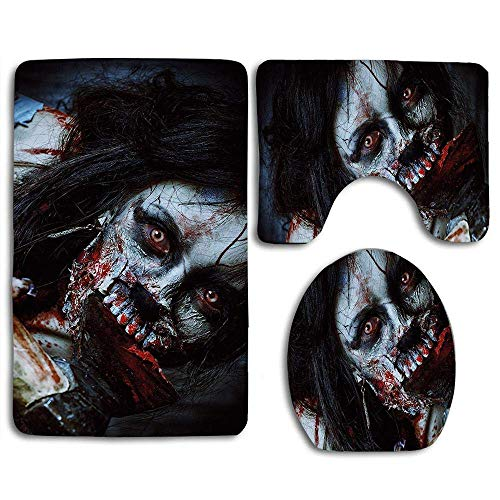 QIFEN Zombie Scary Dead Woman Fantasy Gothic Mystery Halloween Picture Comfort Washroom Mat Toilet Seat Cover Bath Mat Lid Cover 3pcs/Set]()