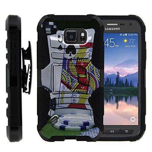 (TurtleArmor | Compatible for Samsung Galaxy S6 Active Case | G890 [Hyper Shock] Hybrid Kickstand Cover Holster Belt Clip Hard Protector Gambling Casino Set - Blackjack)
