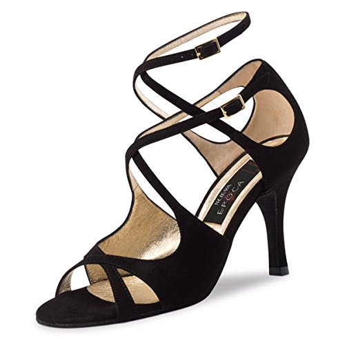 Nueva Era - Chaussures De Danse En Daim Tango / Salsa Amalia Pour Femme - Noir - 8 Cm