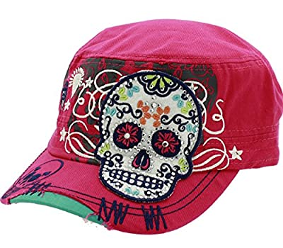 Hot Pink Womens Sugar Skull Cross Flowers Rhinestone Day of Dead Fashion Cadet Army Style