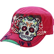Hot Pink Womens Sugar Skull Cross Flowers Rhinestone Day of Dead Fashion Cadet Army Style