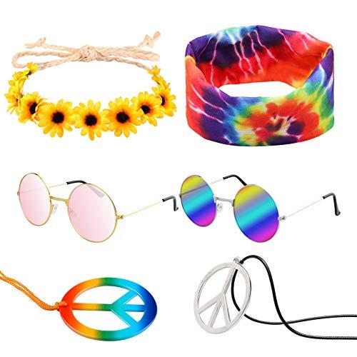 7 Pcs Hippie Costume Set Peace Sign Necklaces Flower Headband Hippie Sunglasses Tie Dye Headband 60s Hippie Accessories for Women Men Couples Friends