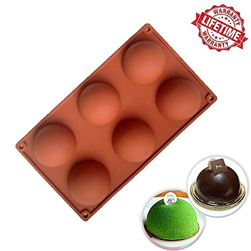 Silicone Cake Mold, IC ICLOVER Food Grade 6 Cavities Hemisphere Dome Silicone Mold Half Sphere Bakeware for Making Delicate Chocolate Desserts Ice Cream Bombes Cakes Soap Resin Items -