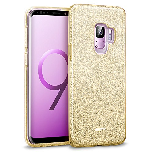 Champagne Case - ESR Glitter Galaxy S9 Case, Sparkle Bling Case Protective Cover [Three Layer] [Supports Wireless Charging] Compatible for The Samsung Galaxy S9 5.8