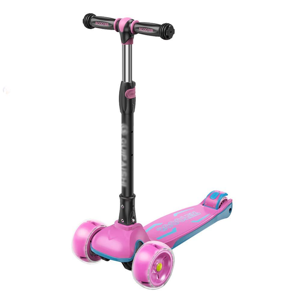 スクーター 子供のためのキックスクーター、調整可能なハンドルグリップ三輪車リアブレーキ付き、アウトドアワイドペダル三輪車 (色 : Pink) B07KY4RWJG  Pink