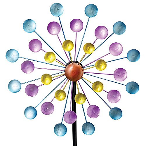 Bits and Pieces - Multi-Color Rainbow Dots Mini Kinetic Wind Spinner Stake - Metal Outdoor Windspinner Sculpture Lawn, Garden, and Yard Decor by Bits and Pieces (Image #1)