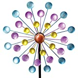 Bits and Pieces - Multi-Color Rainbow Dots Mini Kinetic Wind Spinner Stake - Metal Outdoor Windspinner Sculpture Lawn Garden and Yard Decor