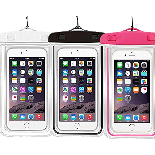 3PACK Waterproof Case Universal CellPhone Dry Bag Pouch CaseHQ for Apple iPhone 6S, 6, 6S Plus, SE, 5S, Samsung Galaxy S7, S6 Note 5 4, HTC LG Sony Nokia Motorola up to 5.7