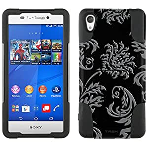 Sony Xperia Z3v Hybrid Case Damask Vintage Grey on Black 2 Piece Style Silicone Case Cover with Stand for Sony Xperia Z3v