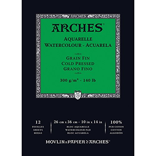 "Winsor & Newton 1795093 Arches Watercolor Cold Pressed Paper Pad (12 Pack), 10"" x 14"""