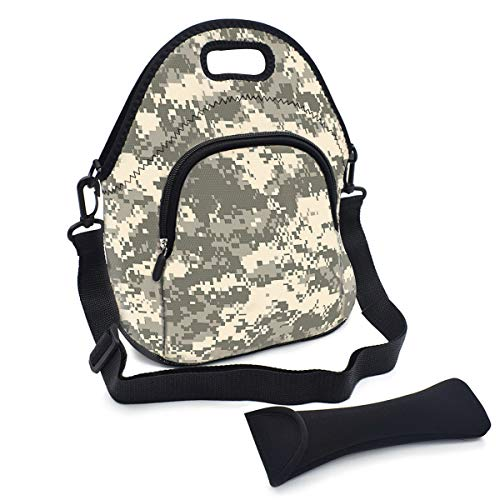 Multipurpose Neoprene Lunch Bag Kit, VIPbuy Soft Insulated Thermal Lunch Boxes Container Tote Large with Detachable Adjustable Shoulder Strap, Pocket, Cutlery Organizer Bag, Zipper (Digital Camo)