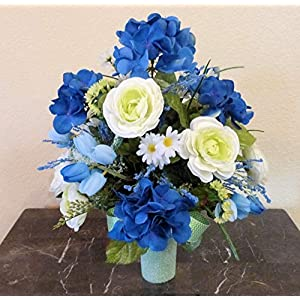Blue Hydrangea Cemetery Arrangement, Cemetery Arrangement with Ranunculus, Flowers For Cemetery Vase 108