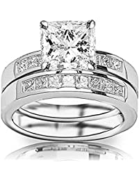 14K White Gold 2.1 CTW Princess Cut Classic Channel Set Princess Cut Diamond Engagement Ring and Wedding Band Set, K Color SI2-I1 Clarity, 1.25 Ct Center