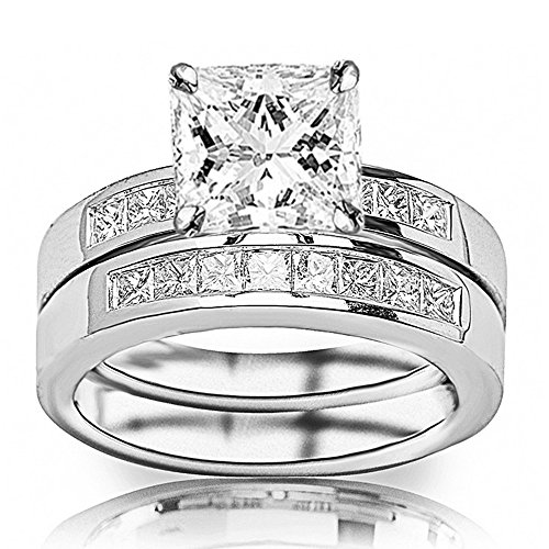 14K White Gold 1.35 CTW Princess Cut Classic Channel Set Princess Cut Diamond Engagement Ring and Wedding Band Set, H-I Color SI2-I1 Clarity, 0.5 Ct Center