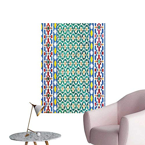 Vinyl Artwork Colorful Moroccan Mosaic Wall Mideast Style Craftsmanship Vertical Details Easy to Peel Easy to Stick,12