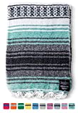 Mexican Blanket: Authentic Throw Blanket Falsa Thick Soft Woven Acrylic for Yoga or as Beach Throw, Picnic, Camping, Travel, Hiking, Adventure (Mint)