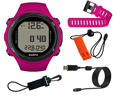 Suunto D4i Novo Dive Computer w/ Bungee, Whistle, USB, and Extension Strap (Pink)