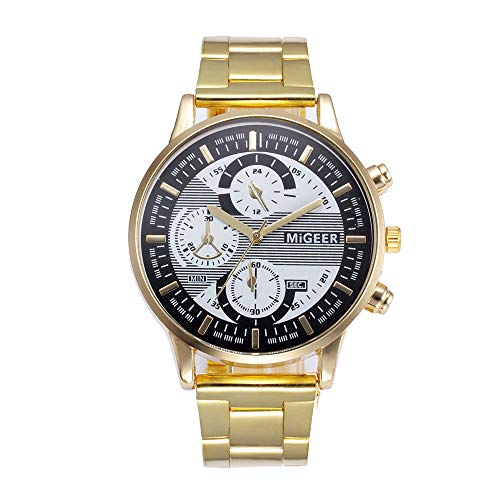 (Star_wuvi Watches Men Fashion Crystal Military Stainless Steel Bracelet Watches Quartz Wrist Watch (Gold))