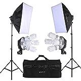 Andoer Photo Studio Softbox Lighting Cube Tent Kit with 2pcs Softbox + 8pcs 5500k 45W Daylight Bulb+2pcs 4in1 E27 Bulb Socket+2pcs 79inch Light Stand and Carrying Bag