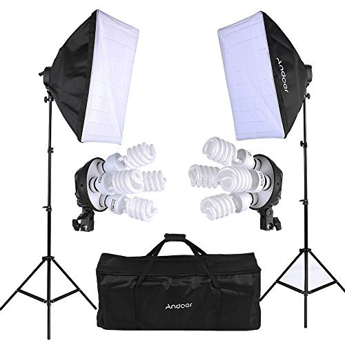 Andoer Photo Studio Softbox Lighting Cube Tent Kit 2pcs Softbox + 8pcs 5500k 45W Daylight Bulb+2pcs 4in1 E27 Bulb Socket+2pcs 79inch Light Stand Carrying Bag