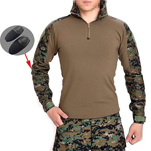 Men BDU Shooting Combat Long Sleeve Camo Shirt with Elbow Pads Digital Woodland AOR2 for Tactical Military Army Airsoft Paintball (M)