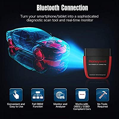 Honeywell Professional OBD2 Scanner Bluetooth 4.0, Car Fault Code Reader Battery Tester Engine Diagnostic Tool with Exclusive App for iOS & Android Devices: Automotive
