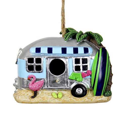 (Exhart Retro RV Bus Bird House - Florida Flamingo Vintage Bus Mini House for Birds with Rope - Hanging Retro Camper Birdhouse Decor - Best as Tropical Outdoor Decor for Garden, Porch, and Yard, 8