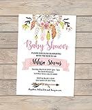 Dream Catcher Baby Shower Invitation, Dreamcatcher Invitation, Boho Baby Shower invitation, Feathers And Flowers Baby Shower Invitation