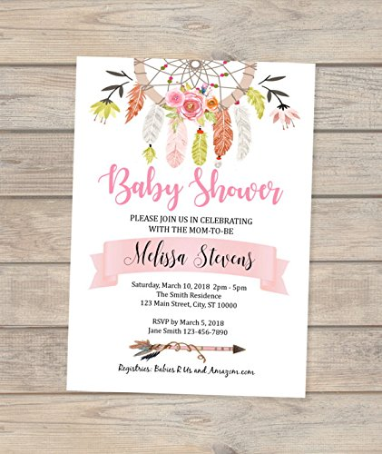 Dream Catcher Baby Shower Invitation, Dreamcatcher Invitation, Boho Baby Shower invitation, Feathers And Flowers Baby Shower Invitation by DPI Expressions