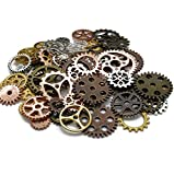 100 Gram (Approx 80pcs) DIY Assorted Color Antique Metal Steampunk Gears Charms Pendant Clock Watch Wheel Gear for Crafting, Cosplay...