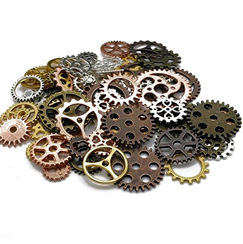 100 Gram (Approx 80pcs) DIY Assorted Color Antique Metal Steampunk Gears Charms Pendant Clock Watch Wheel Gear for Crafting, Cosplay Halloween Decoration,Jewelry Making Accessory -