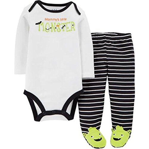 Embroidered Mommy's Little Monster 2 Piece Bodysuit & Footed Pants Baby Boys Set (0-3 Months)