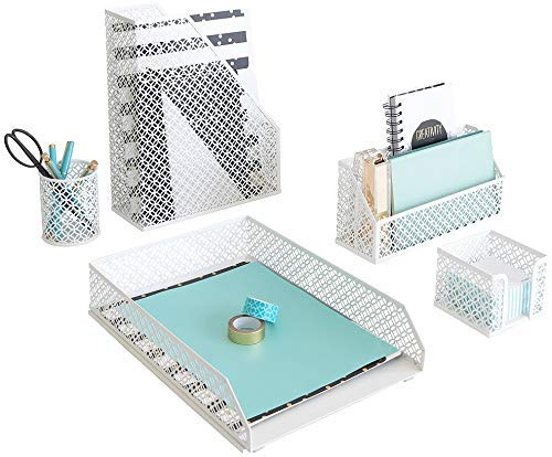 Blu Monaco White Desk Accessories for Women-5 Piece Office Supply White Desk Organizer Set