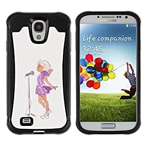 iArmor / Hybrid Anti-Shock Defend Case / Singer Watercolor Painting Microphone / Samsung Galaxy S4 I9500